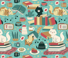 cozy reading cats