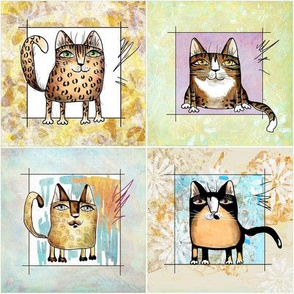 Four different  cats