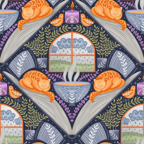 Reading with a purring cat, lavender smell and rain sound