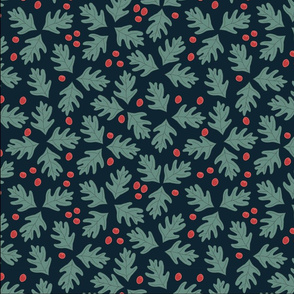 Christmas Green Leaves and Holly Berries