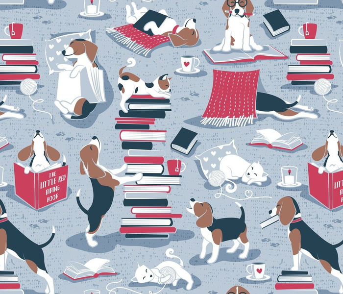 Life is better with books a hot drink and a friend // normal scale // blue background brown white and blue beagles and cats and red cozy details