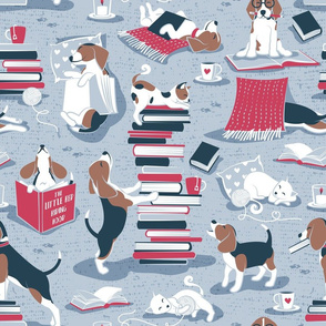 Normal scale // Life is better with books a hot drink and a friend // blue background brown white and blue beagles and cats and red cozy details
