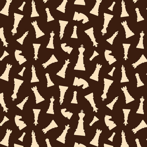 Chess Pieces - Cream on Brown classic