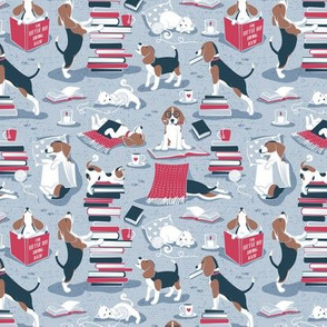 Tiny scale // Life is better with books a hot drink and a friend // blue background brown white and blue beagles and cats and red cozy details