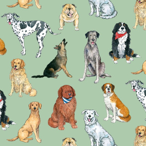 Big Dogs Pattern on green