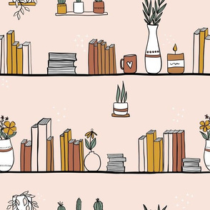 Cozy Library Books and Plants
