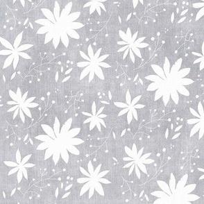 Grey Denim Wash Floral