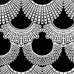Dissent Deco, White on Black