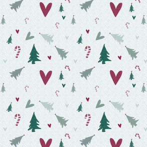 christmas trees/ hearts and candy canes