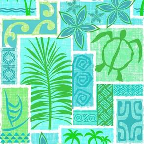 Moku Malihini (blue/green on white)