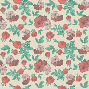 Roses and Rose Hips - Red and Green, Beige Background
