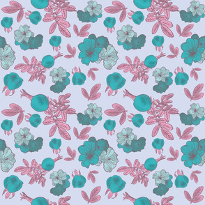 Roses and Rose Hips -  Turquoise and Pink, Light Background