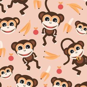 Little monkey town going bananas cool retro kids design blush peach yellow orange girls