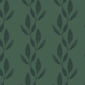 Embroidered Leaves Green by DEINKI