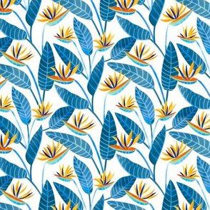 Strelitzia Flowers - Cobalt Blue, Yellow & Red - Small Scale