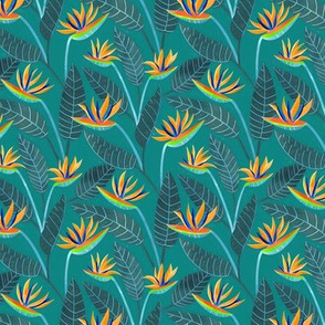 Strelitzia Flowers - Navy Teal - Small Scale