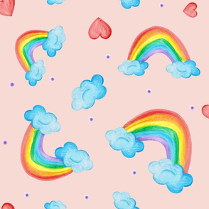 rainbows and hearts pink field
