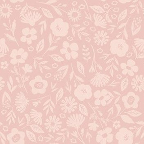 Silhouette Floral in Pink - small scale