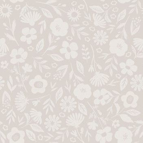 Silhouette Floral in Beige - small scale