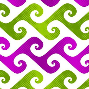 tendrils in bright lime and plum