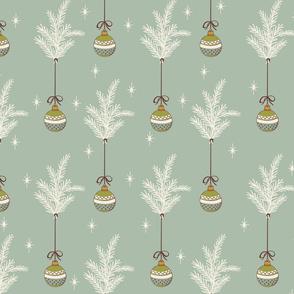 Ribbon Ornaments - Medium - Mint, Cream