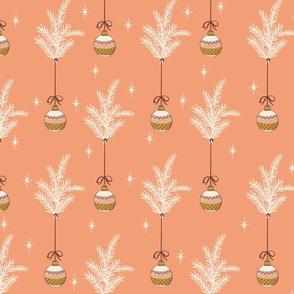 Ribbon Ornaments - Medium - Peach, Cream