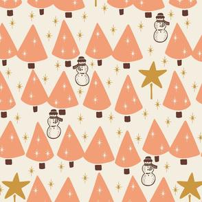 Simple Trees & Snowmen - Medium - Peach, Cream