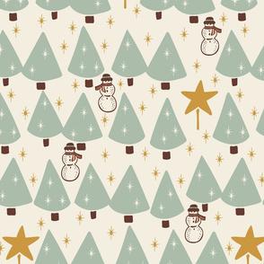 Simple Trees & Snowmen -Medium -  Sage, Cream