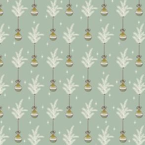 Ribbon Ornaments - Small - Mint, Cream