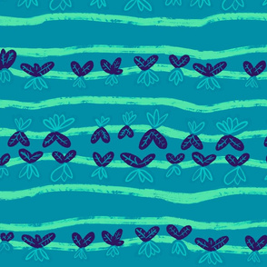 Tulip or Carrot Lines in blue and turquoise