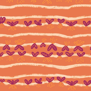 Tulip or Carrot Lines in orange and red