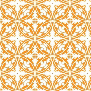 Floral Concentric Circles in Orange and White
