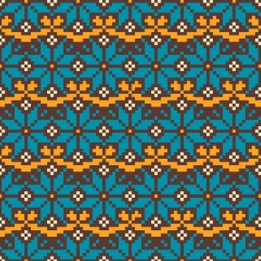 Fair Isle knit motif mustard yellow, teal, brown winter Wallpaper Fabric