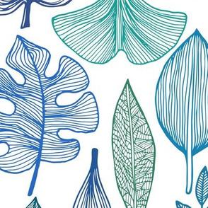 "Blue Leaves Pattern, L, 21"""