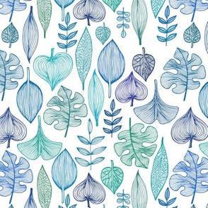 "Blue Leaves Pattern, XS, 7"""