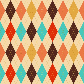 Retro Harlequin Party cream golden dashes colorful carnival Fabric