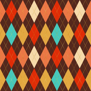 Retro carnival Harlequin costume Party brown golden dashes colorful Fabric