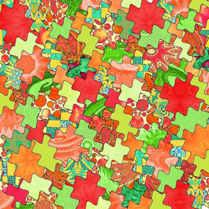 Puzzled - peach and lime
