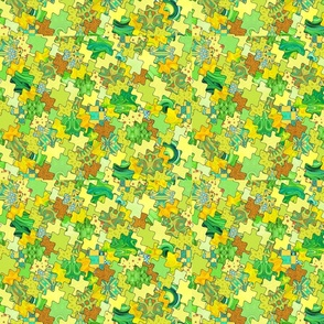 Puzzle pieces - green and yellow