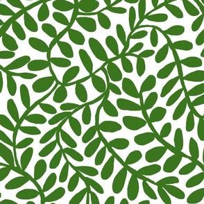 WINDING VINE LEAVES green medium
