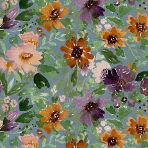 Autumn Loose Watercolor flowers blue linen texture