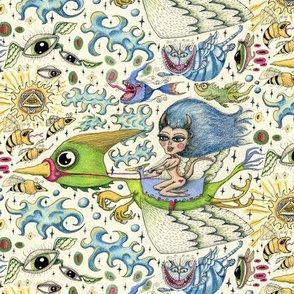 Beautiful girl creature riding on bird fantasy, medium large scale, ivory cream white blue green yellow red