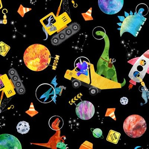 medium dinosaur space crew watercolor