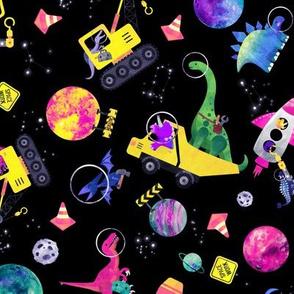 medium dinosaur space crew watercolor pink