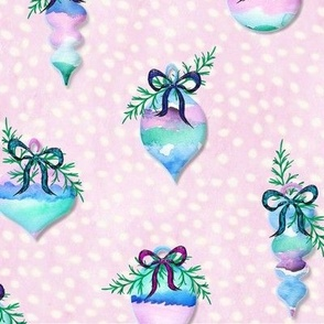 Watercolor Painted Christmas Ornaments w Bows on Black Spruce