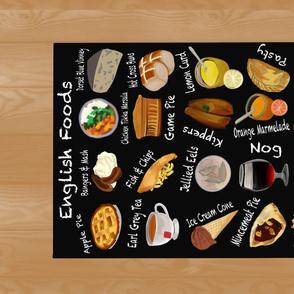 English Foods Alphabet Tea Towel