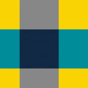 Turquoise Yellow Gray Navy Check