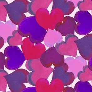 hearts overlapping pink n purple small scale