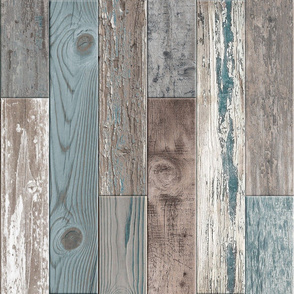 Reclaimed Boat Wood Random Tiles Teal Grey Taupe