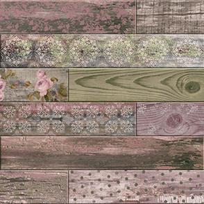 Vintage Wood Random Tiles Mauve Olive Green LARGE Horizontal